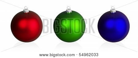 Big Red, Green And Blue Christmas Balls
