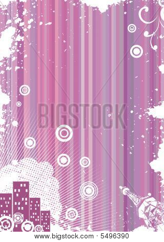 Grunge Pink Background With Urban Elements