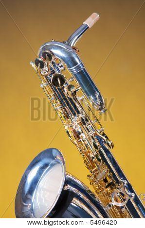 Saxophone Baritone Isolated On Yellow