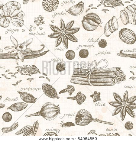 Seamless kitchen background with spices, vector illustration in vintage style.