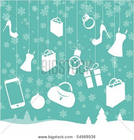 Christmas sale vector template and design element set