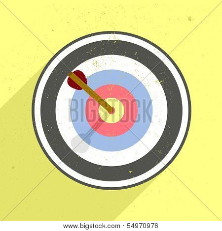 detailed retro flat style illustration of an archery target, eps10 vector