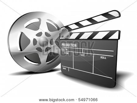 illustration of a clapper board and film reel, symbol for film and video