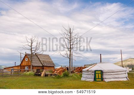Timber House And Mongolian Ger