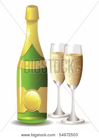Champagne Bottle And Two Glasses