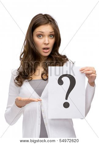 Half-length portrait of amazed woman keeping question mark, isolated on white. Concept of problem and possible solution