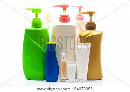 Set Of Different Bottles For Beauty, Hygiene And Health