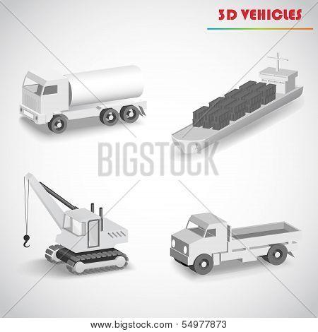 barge crane truck 3d vector