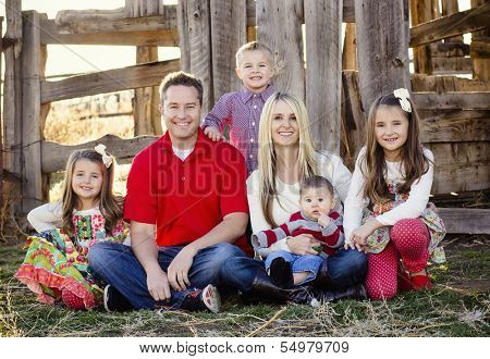 Beautiful Young Family Portrait Outdoors