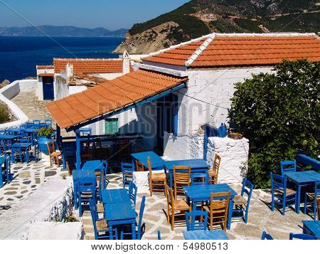 Greek Tavern With Blue Chairs, Panorama Sea View