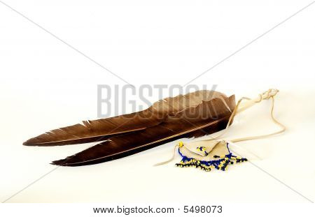 Feathers And Native American Wampum Bag