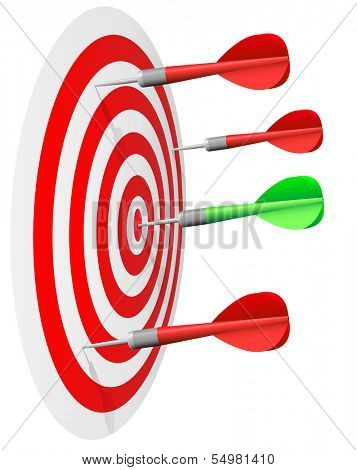 Dart's hit the bull's eye isolated on white background.