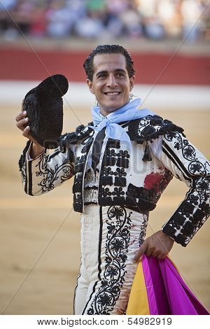 Bullfighter Ivan Fandi�o to the turning of honour with montera hat in his hand in the Bullring of