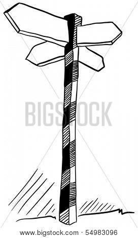 illustration of an empty cartoon hand drawn crossroads sign