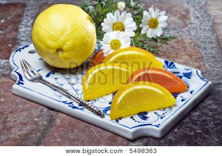 Colorful Fruit Jelly With Lemon On Decorative Tray