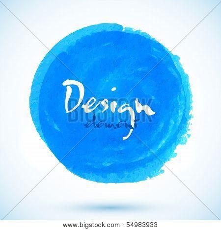 Bright blue watercolor vector circle