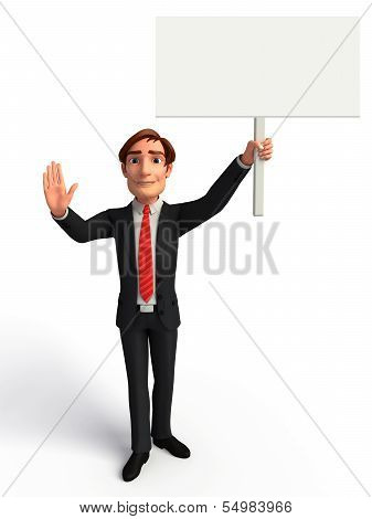 Young Business  man with sign