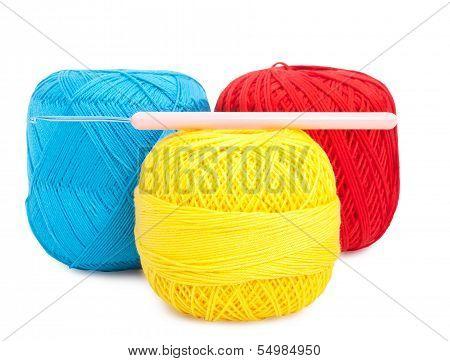 Balls Of Yarn And Needle