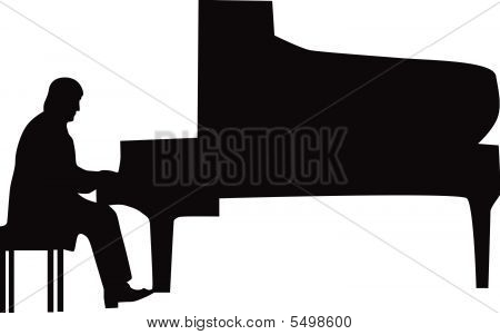 Pianist silhouette vectorPlaying Piano Silhouette