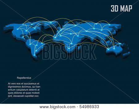 Elegant blue 3d vector World Map