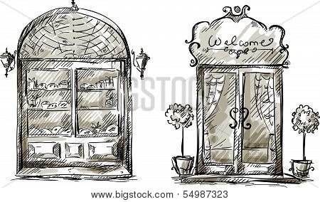 Shop-window and entrance door drawing, retro style