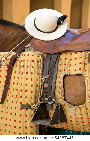 Detail of chopper hat or castore�o on the saddle of a horse's picardor