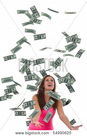 Women catching falling money