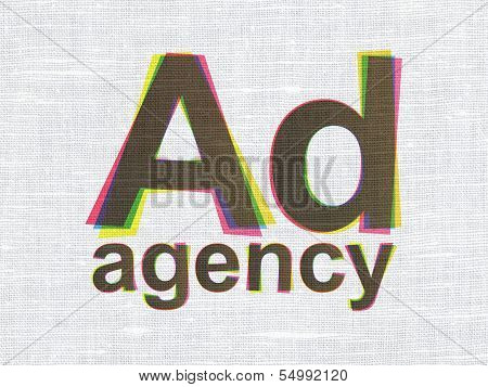 Advertising concept: Ad Agency on fabric texture background