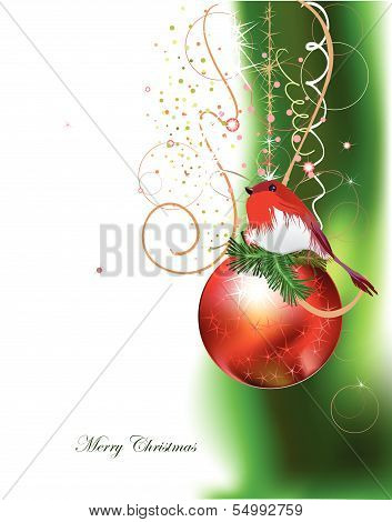 Christmas background with beautiful ball