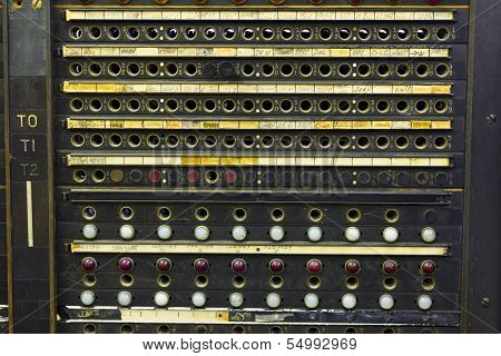 Closeup Of A Vintage Telephone Switchboard