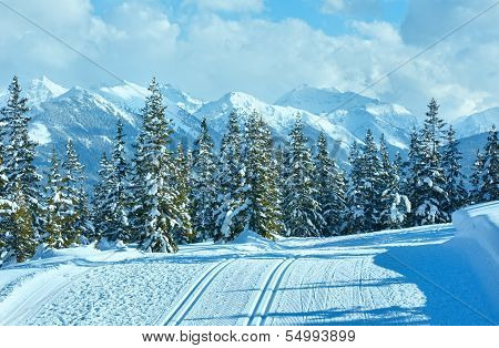 Winter Mountain Landscape And Ski Slope (papageno Bahn, Austria)