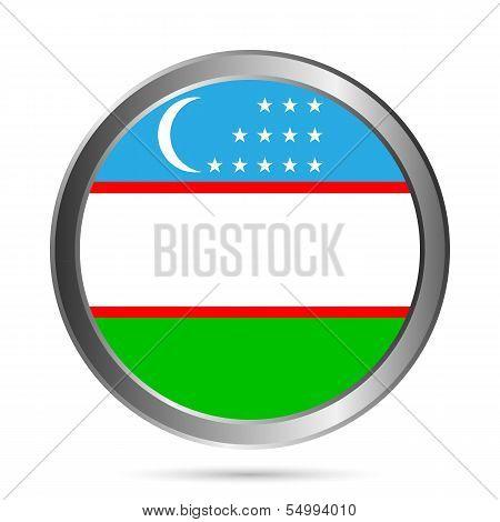 Uzbekistan Flag Button.