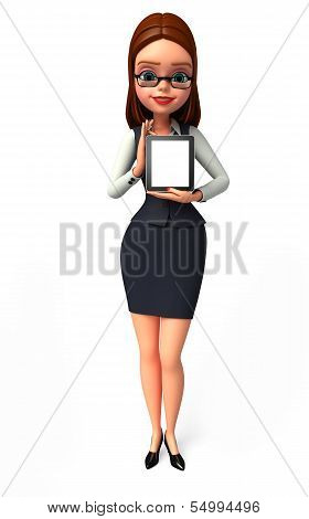 Young Business woman with Tab