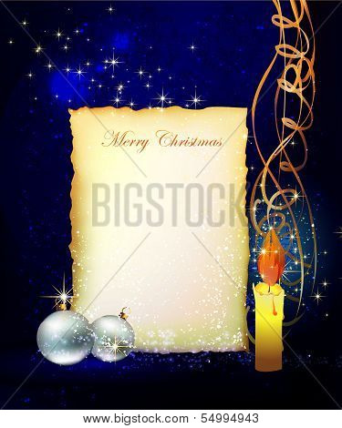 Christmas background with balls and letter template
