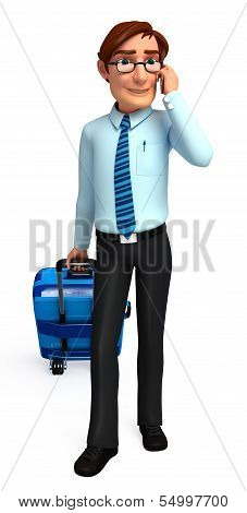 y oung Service man with traveling bag