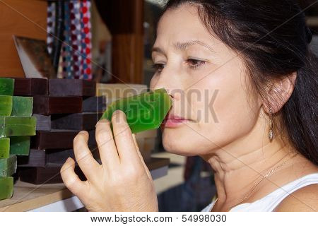 Woman with handmade soap