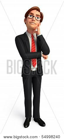 Young Business man is thinking
