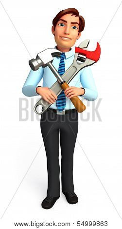 young Service man with screwdriver