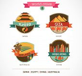 World Cities labels - Kyoto, Giza, Adelaide, Hong Kong,