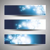 Set of Three Blue Horizontal Christmas or New Year's Banner Designs