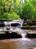 foto of fall day  - Skillet Creek Falls on a beautiful spring day in Wisconsin - JPG