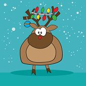 stock photo of rudolf  - Holiday Rudolf the red nose reindeer weird - JPG