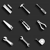 Tools Flat Vector Icons Set