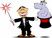 image of hippopotamus  - Magician pulling out a hippopotamus from his top hat - JPG
