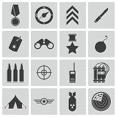 image of military helicopter  - Vector black  military icons set on white background - JPG