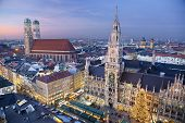 stock photo of bavaria  - Aerial image of Munich - JPG