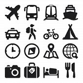 stock photo of flat-bed  - Set of black flat icons about travel - JPG