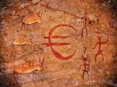 pic of prehistoric animal  - prehistoric paint with euro symbol  hunters and animals - JPG