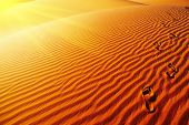 stock photo of footprints sand  - Footprints on sand dune - JPG