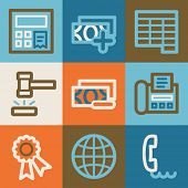 Finance web icons, vintage series